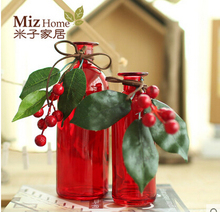 Miz Home 1 Piece Red Color With Berry Leave Decor Simple Style Glass Vase  for Festival Home Country Style  Wholesale and Retail