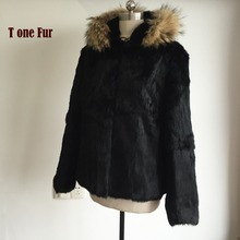 2017 Luxury Big Raccoon Fur Coat Whole Skin 100% Pure Natural Rabbit Fur Coat Real Fur Overcoat Factory Discount Price KSR144(China)