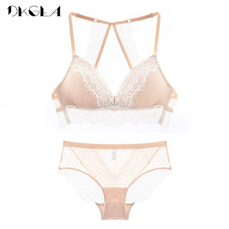 2018 New France Embroidery Lace Lingerie Set Black Thin Cotton Bras Plus Size XL L M S Underwear Women Sets Sexy Wire Free Bra