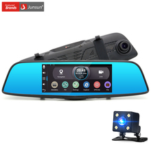 "Junsun Car DVR camera 7"" Android rearview mirror FHD 1080P Dual lens GPS navigator with Rear view camera Video Record Dash cam"
