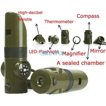 DHL 100PCS New 7 in 1 Field Survival Whistle Compass Thermometer Flashlight Magnifier(China)