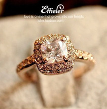 Fashion Brand Ring Jewelry Cubic Zirconia Ring 18K Rose Gold/Platinum Plated Rings R2031