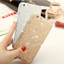 For iPhone 6 6S Plus Glitter Powder Silver Rhombus Soft TPU Hard PC Mobile Phone Cover Case For iPhone 7 8 Plus X 6S Capa Fundas(China)