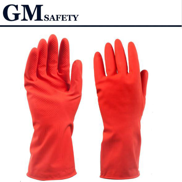 Household Rubber gloves solid color red ultra thin solid color short sleeve glove for women 520003<br><br>Aliexpress