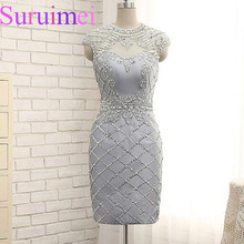 Real Image Grey Color Short Formal Evening Dresses 2017 Stunning evening formal dresses embroidered fabrics for evening dresses(China)