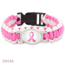 (10 PCS lot) Pink Breast Cancer Fighter Awareness Ribbon Paracord Bracelet  Survival Friendship Outdoor Camping Sports Jewelry 018f8b76fffd