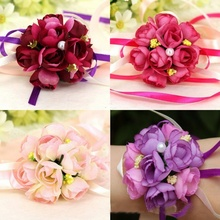 2017 NEW Beautiful Cute Style Wrist Corsage Bracelet Bridesmaid Sisters Hand Flowers Wedding Party Bridal Prom