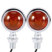 1 Pair Chrome Bullet Motorcycle Turn Signal Indicator Amber Motorbike Blinker Lights Universal