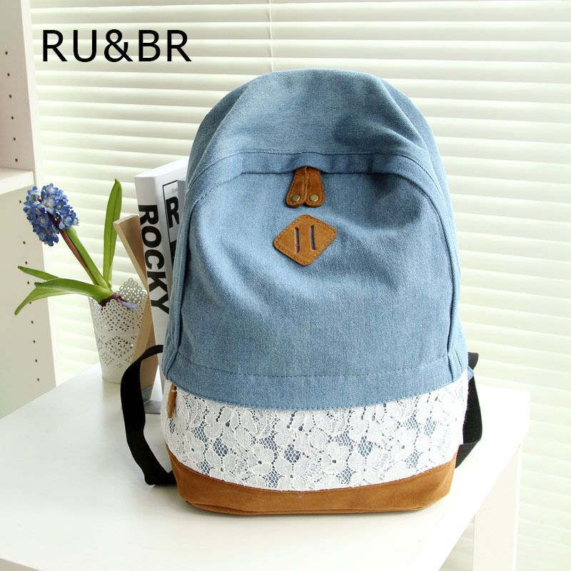 RU&amp;BR New 2015 Fresh Lace Denim Women Canvas Backpack School bag For Girl Ladies Teenagers Casual Travel bags Schoolbag Bagpack<br><br>Aliexpress