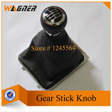 CNWAGNER  Chrome Finishing  6 Speed or 5 Gear Leather Gear Shift Knob cover for VW Passat B6 2005-2011