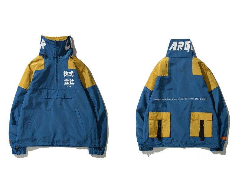Color Block Patchwork Half Zipper Pullover Jackets 1