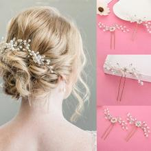 1pcs Elegant Bridal Wedding Crystal Pearl Flower Hair Pins Charm Handmade Bridesmaid Bridal Veil Jewelry Hair Accessories