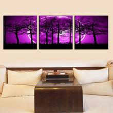 3 Pcs/set Landscape Lunar Eclipse Purple Painting Print On Canvas Night of Forest Tree and Moon For Bed Room Decorative Painting
