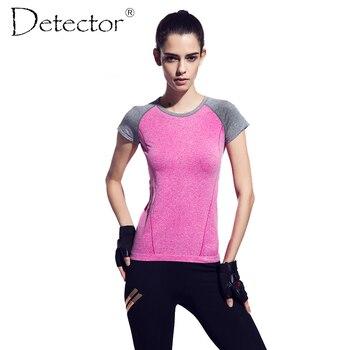 Detector de gimnasio camiseta de compresión medias de las mujeres de Secado Rápido del deporte camisetas en ejecución de manga corta camisetas de fitness camisetas de mujeres