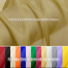 "100% Pure SILK CHIFFON FABRIC 5mm Width 55""-140cm/Apparel Sewing fabric for Sewing Wedding Chiffon dress tissue MOQ 1 meter"