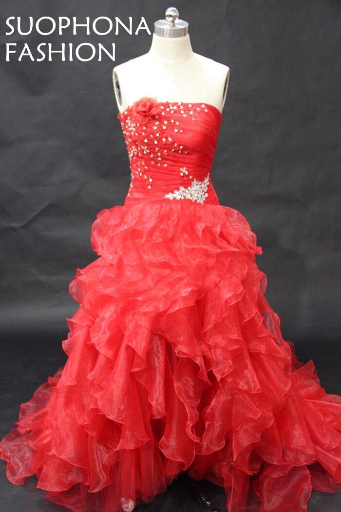 Элегантный органзы красное бальное платье вечернее платье 2017 бисером ruffy Vestidos De Festa вечерние платья Abiye Gece Elbisesi(China)