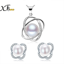 [XF800]pearl jewelry sets 925 sterling silver natural fresh water pearl necklace pendant earrings trendy for womenST22