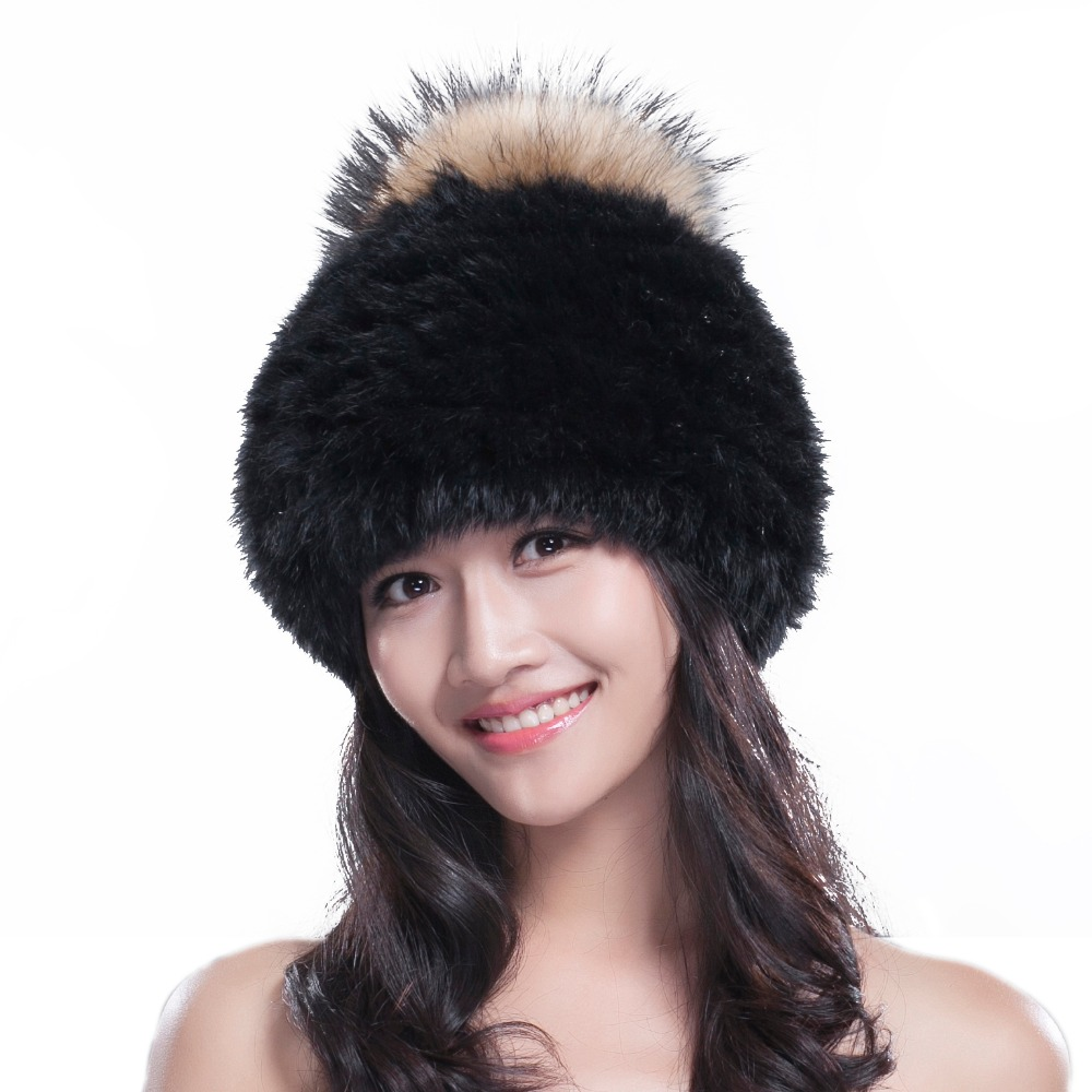 URSFUR Knit Rex Rabbit Fur Hat Womens Beanies with Fox Fur Pom Pom Womens rabbit fur hat flexible fur beanies winterОдежда и ак�е��уары<br><br><br>Aliexpress