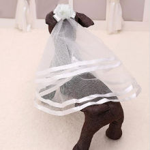 Classic Wedding Veil Bridal Costume Boutique Puppy Cat Pets Accessory Grooming(China)