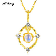 MoBuy MBNI036 Natural Light Blue Moonstone Necklaces & Pendants Sterling Silver 925 Jewelry 14K Yellow Gold Plated For Women
