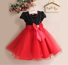 DQ0073 Free shipping top quality children formal dress beautiful girls Bow princess dress summer girls clothes 4 colors retail(China)