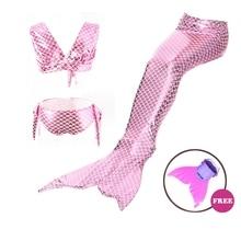4PCS/Set Baby Girls Swimming Mermaid Tail Bikini Set Monofin Flipper Swimmable zeemeerminstaart met monofin Kids