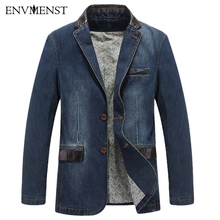 2017 New Spring Casual Denim Blazers Men Fashion Thin Jacket High Quality Cotton Coats jaqueta jeans masculino Plus size M-4XL