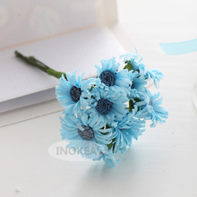 100 Blue Daisy Wedding Handmade Mulberry Paper Flower, Scrapbooking Crafts Decorate Flowers JH - 1002