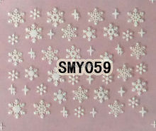 2PCS SMY059 White Snowflake Nail Art Cute Cartoon Sticker Nail Art Sticker
