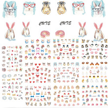 11 Designs/Set 2017 Lovely Cat/Rabbit/Panda Animal Nails Sticker 3D Nail Art Decorations Manicure DIY Nail Decals CHE589-599