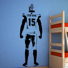 Custom Jersey Name and Number Wall Art Football Wall Decal Decor Vinyl Sticker Personalized American Football Player Decal A404