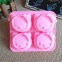Free shipping Hello kitty Cake Mold two kinds of expression Hello kitty Silicone mold Soap mold Fondant Cake Decorating Tools