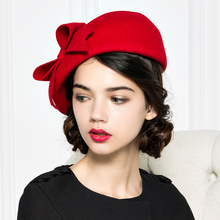 Brand Quality Classic Red Black Solid Bowler Beret Caps Wool Felt Winter Women Hat Elegant Formal Church Hat Wedding Fedora Hat