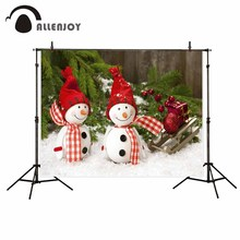 Allenjoy Christmas cute snowmen pine snow wood board background baby Photophone foto photography photocall(China)