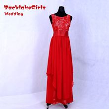 BacklakeGirls 2017 Hot Sale In Stock Red Bridesmaids Dress Chiffon Belt Good Quality Lace Pleat Cheap Wedding Party Dresses