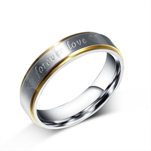 Free Custom Engraving 6mm Two Tone 316L Stainless Steel Forever Love Rings for Couple