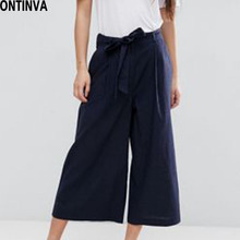 2017 Black Wide Leg Loose Pants Summer Autumn Women Casual Trousers with Bow Belt High Waist Pantalon Female Big Bottomes Pants(China)