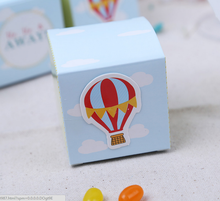 100 x European Syle Light Blue Square Ballon Style Wedding Favors Candy Boxes Party Paper Gifts Box Chocolate Boxes
