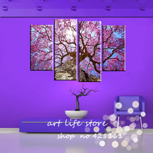 Free Shipping 4 Panels Big Tree Straight To The Sky Perfect Looks Painting Canvas Wall Picture Home Decoration Modern Painting