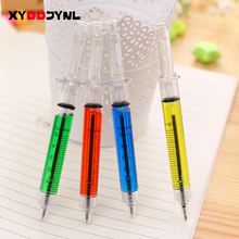 XYDDJYNL Hot! Creative Syringe Ballpoint Pen 2PCS Liquid Novelty Stationery Canetas Kawaii School Supplies Office Signing Pen