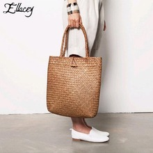New 2017 Summer Retro Mori Large Straw Tote Bags For Women Knitting Straw Shoulder Casual Totes Handmade Ladies Beach Handbags