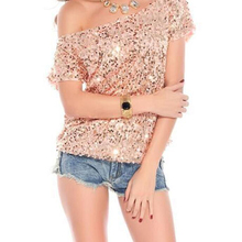 Buy New Summer Style Women Sequins T Shirt Tees Fashion Loose Bling Beads Tops Sexy Shoulder T-shirt Camisetas Mujer AB298 for $12.99 in AliExpress store
