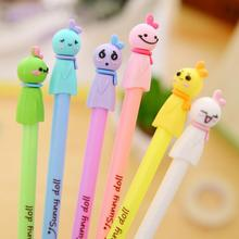 Jonvon Satone 6pcs Gel Pen Lovely Sunny Doll Neutral Pen Student Cartoon Signature Pen Stationery 0.38mm Office Stationary
