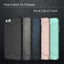 sFor Cover Apple iphone 6s Case Brushed PC + Soft TPU Armor Phone Case For Apple iphone 6s Case Card Slot For Funda iphone 6s 6(China)