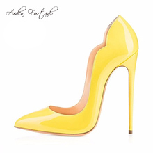 New extreme high heels shoes for woman 12cm party shoes thin heels slip-on ladies shoes plus size yellow blue purple customize(China)