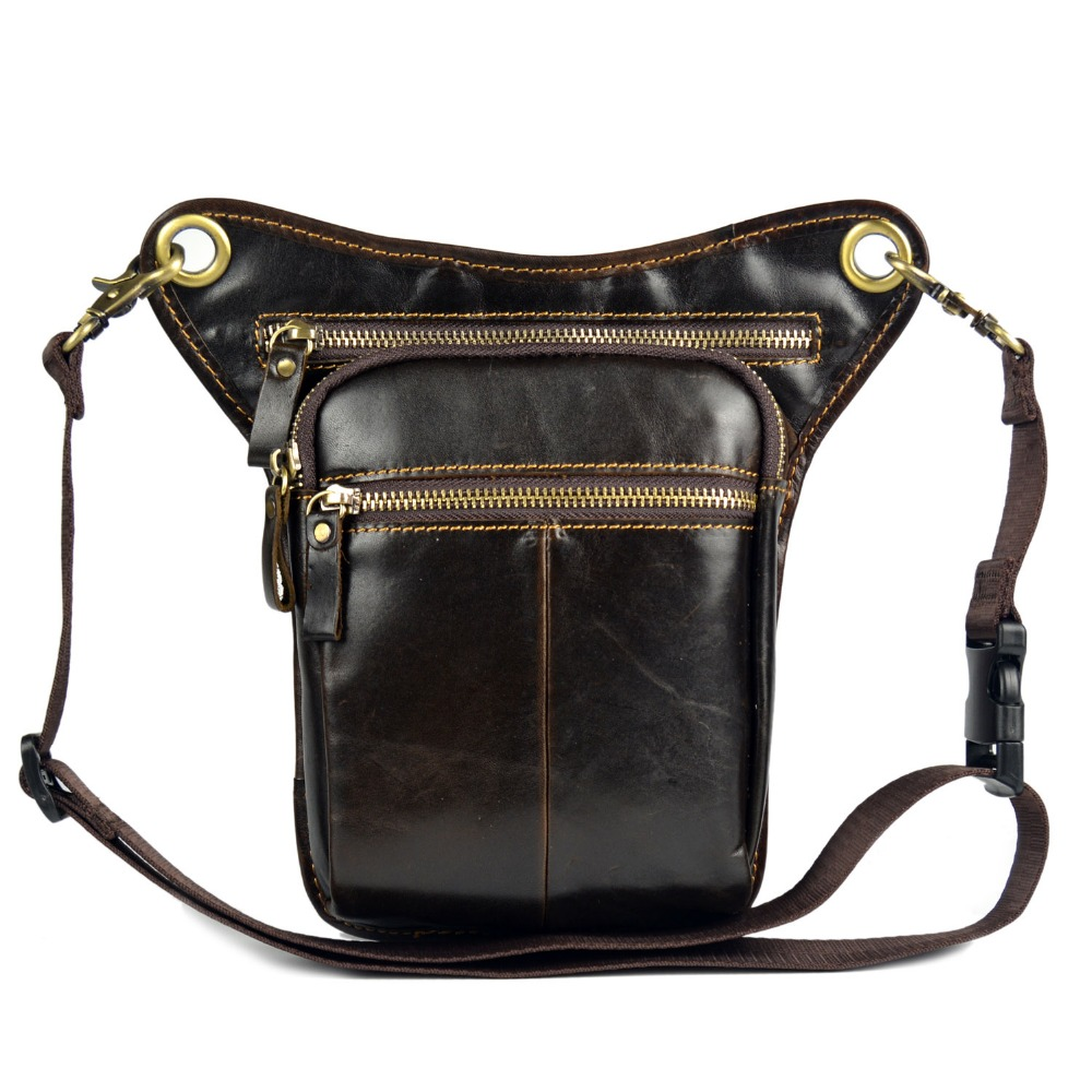 Genuine Leather Travel Motorcycle Riding small Messenger bags for men crossbody Shoulder Belt  Waist Thigh Drop Leg Bag handbags<br>