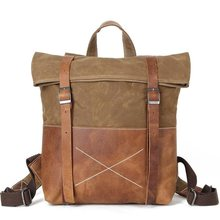 YUPINXUAN Unisex Hard Oil Waxed Canvas Leather Backpacks Criss-Cross Waterproof  Backpack Men for Travel e491d094feae2