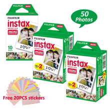 50 Sheets Fujifilm Fuji Instax Mini 8 White Film for Instant Mini 7s 25 50s NEO Classic instax Photo Camera +Free 20Pcs Stickers