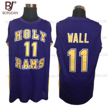 Cheap John Wall #11 Holy Rams High School Jersey Purple New Sewn Shirt Any Size Throwback Basketball Jersey