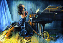 Hand painted oil painting girl playing piano figure art modern abstract paintings music for living room wall decor High quality